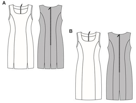 Облегающее платье с асимметричным слегка расклешенным нижним краем и... К выкройке прилагается инструкция на немецком